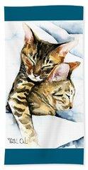 Dreamland - Bengal And Savannah Cat Painting Beach Sheet