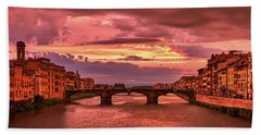 Saint Trinity Bridge From Ponte Vecchio At Red Sunset In Florence, Italy Beach Sheet