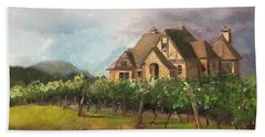 Beach Towel featuring the painting Dreams Come True - Chateau Meichtry Vineyard - Plein Air by Jan Dappen