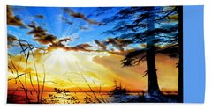 Beach Sheet featuring the painting Dreams Of Sunrise Through The Pines by Hanne Lore Koehler