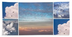 Beach Towel featuring the photograph Dreamy Clouds Collage by Jenny Rainbow