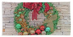 Dreamy Holiday Wreath Beach Towel