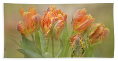Beach Towel featuring the photograph Dreamy Parrot Tulips by Ann Bridges