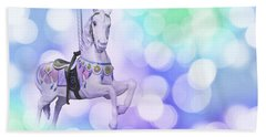 Dreamy Pastel Blue Carousel Horse Beach Towel