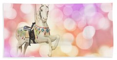 Dreamy Pastel Pink Carousel Horse. Beach Towel