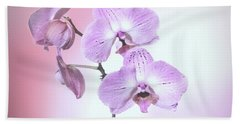 Dreamy Pink Orchid Beach Sheet by Linda Phelps