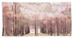 Beach Towel featuring the photograph Dreamy Shabby Chic Pink Nature Pink Trees Woodlands - Pink Nature Nursery Prints Decor by Kathy Fornal