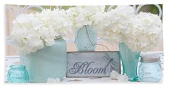 Dreamy White Hydrangeas - Shabby Chic White Hydrangeas In Aqua Blue Teal Mason Ball Jars Beach Sheet by Kathy Fornal