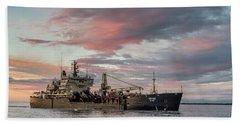 Dredging Ship Beach Towel by Greg Nyquist
