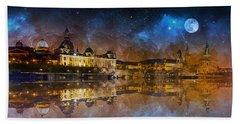 Dresden At Night Beach Sheet