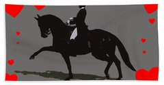 Dressage With Hearts Beach Towel