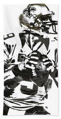 Drew Brees New Orleans Saints Pixel Art 2 Beach Sheet by Joe Hamilton