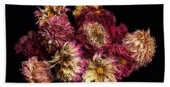 Dried Dahlias From The Garden Beach Towel