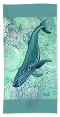 Beach Towel featuring the painting Drifting Into Blue by Darice Machel McGuire