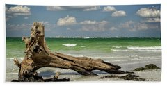 Beach Towel featuring the photograph Driftwood And Fort Myers by Greg Mimbs