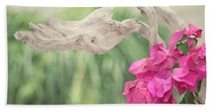 Driftwood And Pink Petals Beach Towel