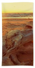 Beach Towel featuring the photograph Driftwood At Sunset by Michelle Calkins