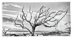 Beach Sheet featuring the photograph Driftwood Beach - Black And White by Kerri Farley