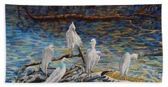 Yellow Billed Egrets On Driftwood Beach Towel