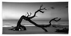 Driftwood Morning In Black And White Beach Towel