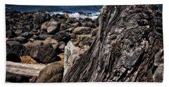 Driftwood Rocks Water Beach Towel by Thom Zehrfeld