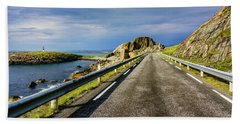 Beach Towel featuring the photograph Driving Along The Norwegian Sea by Dmytro Korol