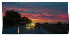 Driving Dusk Beach Towel