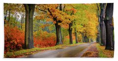 Driving On The Autumn Roads Beach Sheet by Dmytro Korol