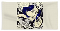 Drowning Girl Beach Sheet by Roy Lichtenstein