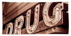 Drug Store Sign - Vintage Downtown Pharmacy Beach Sheet