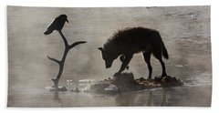 Druid Wolf And Raven Silhouette Beach Towel