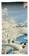 Drum Bridge And Setting Sun Hill At Meguro Beach Towel