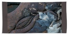 Dry Leaves And Old Steel-ix Beach Towel by Patricia Overmoyer