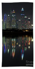 Dubai City Skyline Nighttime  Beach Towel