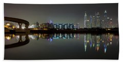 Dubai City Skyline Night Time Reflection Beach Towel