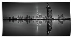 Dubai Skyline Reflection At Amazing Night, Dubai, United Arab Emirates Beach Sheet
