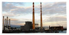 Dublin's Poolbeg Chimneys Beach Towel by Lexa Harpell