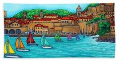 Beach Towel featuring the painting Dubrovnik Regatta by Lisa  Lorenz