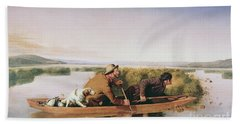 Duck Hunters On The Hoboken Marshes, New Jersey, 1849 Beach Towel