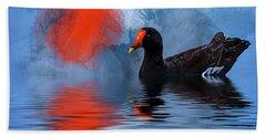 Duck In A Pond Beach Sheet by Cyndy Doty