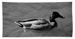 Beach Towel featuring the photograph Duck In Black And White by Mike Murdock