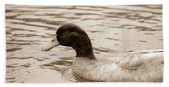 Duck In Pond Beach Towel