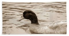 Duck In Pond Beach Towel