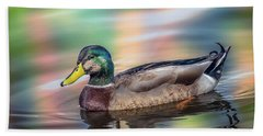 Duck In Water With Autumn Colors Beach Towel