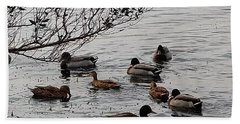 Beach Towel featuring the photograph Duck Love by Steve Sperry