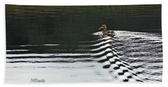 Duck On Ripple Wake Beach Towel