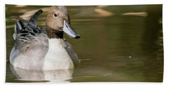 Duck Swimming, Front Portrait. Beach Towel