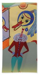 Beach Towel featuring the painting Duck With A Sapphire-pearl Earring by Marie Schwarzer