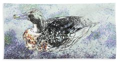 Beach Towel featuring the photograph Duck With Fine Plumage by Nareeta Martin
