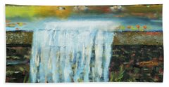 Beach Sheet featuring the painting Ducks And Waterfall by Michael Daniels